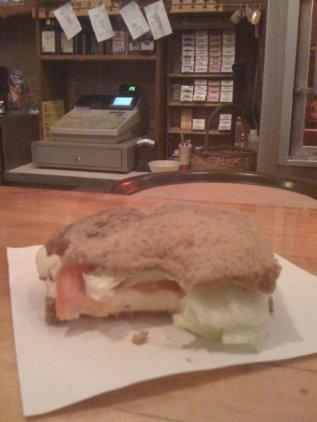 One bite taken sandwich